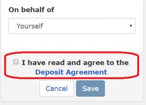 Proxy deposit and deposit agreement checkbox. the deposit agreement checkbox is highlighted