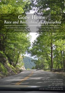 """The cover of the book """"Gone Home: Race and Roots through Appalachia"""" featuring a road in the mountains surrounded by trees"""