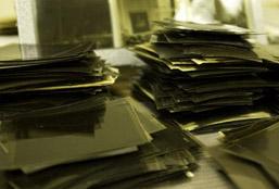 Piles of Morton negatives