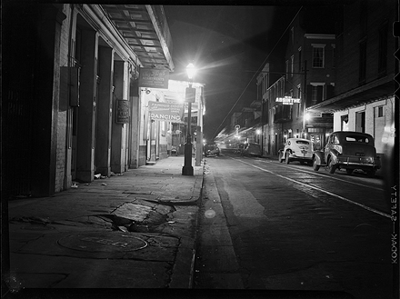 Bourbon Street at night, New Orleans, 1945