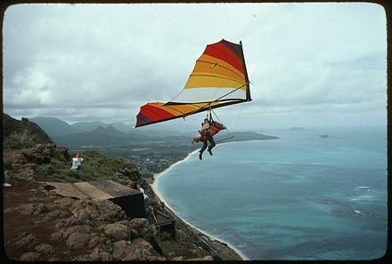 Hang gliding, circa January 1978.