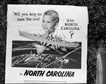 """Mock-up of ad for """"Save our Ship"""" Campaign for the USS NC, probably 1960"""