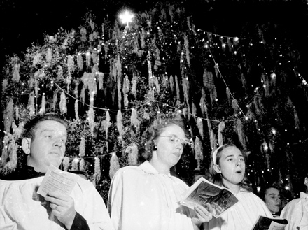 """Carolers at the """"World's Largest Living Christmas Tree,"""" Hilton Park, Wilmington, NC, circa late 1940s"""