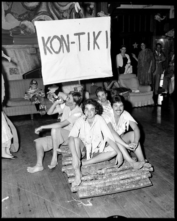 "Kids dressed up as the ""Kon-Tiki,"" probably at the Fancy Dress Ball, Eseeola Lodge, Linville, NC, ca. late 1950s"