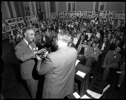 Joe Costa (left) and unidentified man (Hugh Morton?) presenting at the Southern Short Course for Press Photography, UNC-Chapel Hill, ca. early 1950s