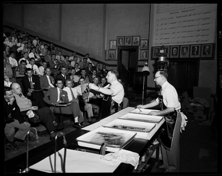 Unidentifed instructors presenting at the Southern Short Course for Press Photography, UNC-Chapel Hill, ca. early 1950s