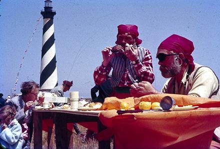 Hungry reenactment pirates at Cape Hatteras Light, circa 1960.
