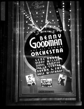 Poster for Benny Goodman orchestra performance in Washington, DC, late 1930s-early 1940s