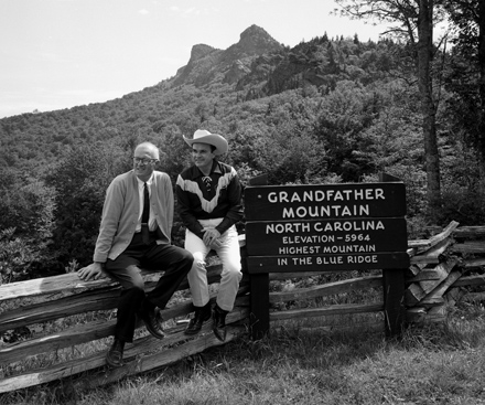 Hugh Morton and Fred Kirby at Grandfather Mountain, ca. 1963.