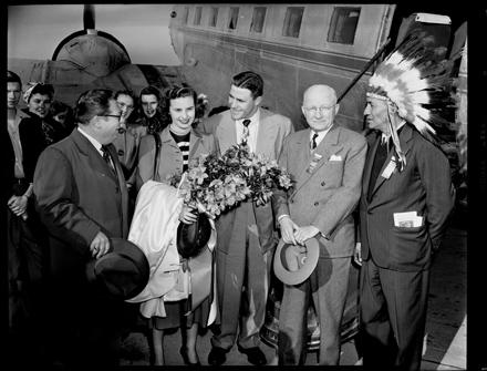 Azalea Festival group at the airport, Wilmington, NC, 1950