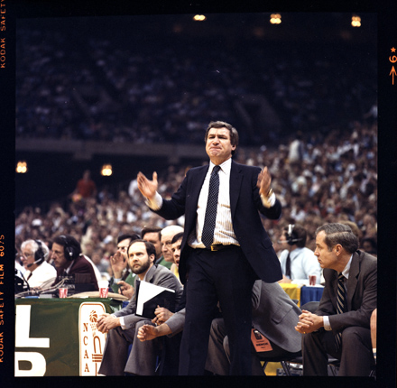 UNC Coach Dean Smith on the sidelines during the 1982 NCAA Tournament