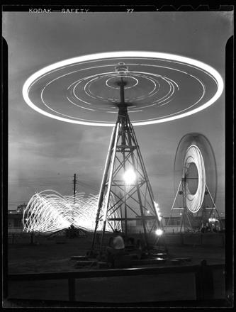 """""""Rides, Carolina Beach,"""" long exposure, ca. 1940s"""