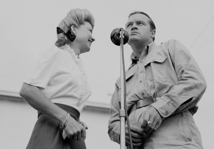 Frances Langford and Bob Hope entertaining military personnel in New Caledonia, 1944 [cropped]