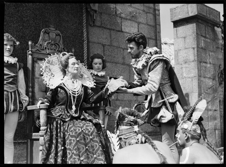 "Andy Griffith as Sir Walter Raleigh with other cast members of ""The Lost Colony"" outdoor drama, circa late 1940s-early 1950s"
