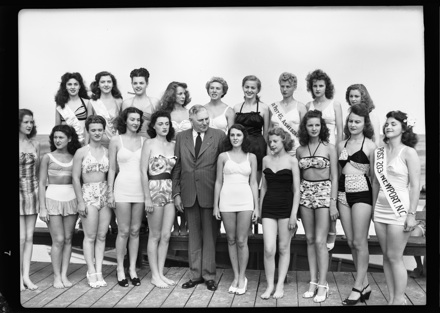 NC Governor R. Gregg Cherry with pageant contestants, circa late 1940s
