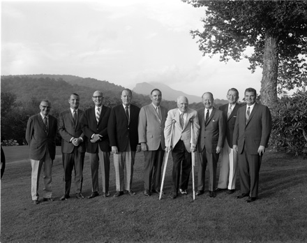 NC Governor Luther Hodges (on crutches) and others, at Grandfather Golf and Country Club(?), circa 1960s