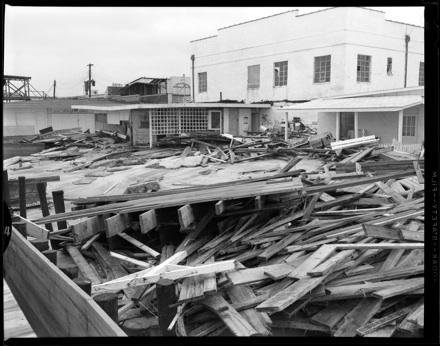 Hurricane damage at Carolina Beach, NC, 1954
