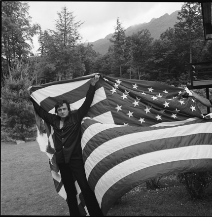 Johnny Cash with American Flag, Grandfather Mountain (Linville, NC), June 1974