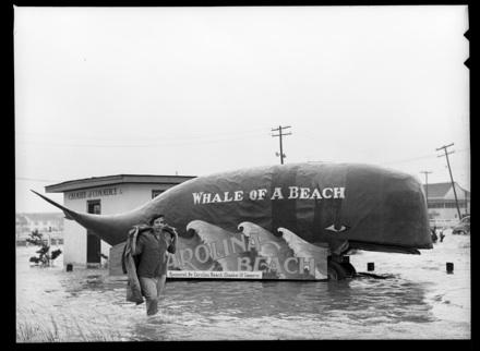 Woman walking next to Carolina Beach (NC) whale during/after Hurricane Hazel, 1954