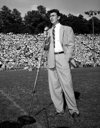"Andy Griffith performing ""What it was, was football"" at UNC's Kenan Stadium, early 1950s"