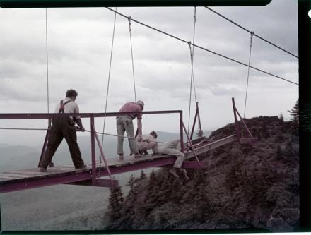Construction of Mile High Swinging Bridge, 1952