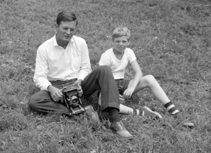 """Professor"" Hugh Morton and photography student at Camp Yonahnoka, early 1940s"