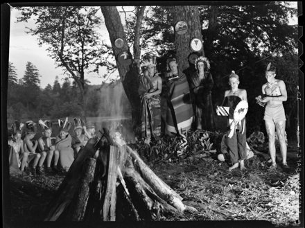 Campfire scene at Camp Yonahnoka, early 1940s