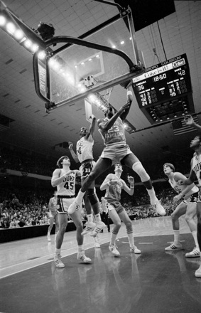 UNC basketball's Michael Jordan dunking in a game against Duke, early 1980s
