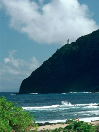Beach with lighthouse, Hawaii, 1978