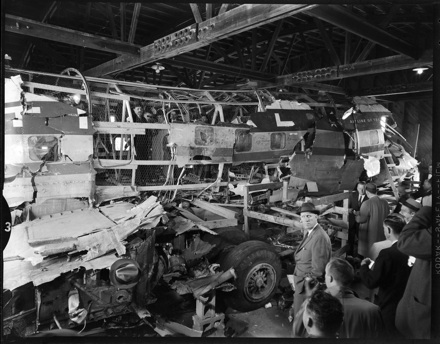 Reassembling the wreckage of NAL Flight 2511, which exploded and crashed January 6, 1960 in Bolivia, NC