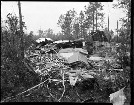 Wreckage of National Airlines Flight 2511, which exploded and crashed January 1, 1960 in Bolivia, NC