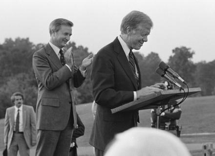 President Jimmy Carter on the campaign trail, with NC Gov. Jim Hunt, Tanglewood Park, 1980