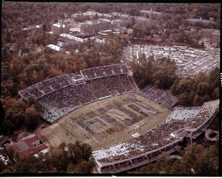 Air view of high school band competition at UNC's Kenan Stadium