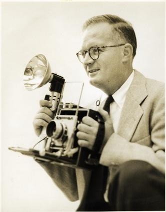 Hugh Morton with camera, circa 1950s