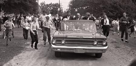John F. Kennedy campaigning in North Carolina. Copyright Don Sturkey, 1960.