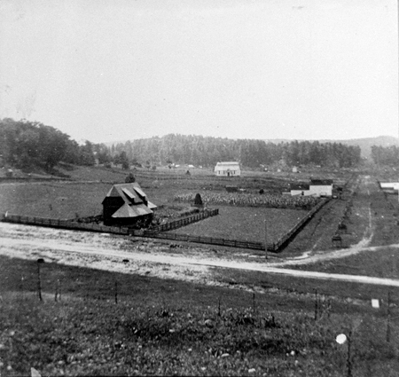 Copy photo of farm, house, and dirt road from the 1890s-1900s, Linville, NC.
