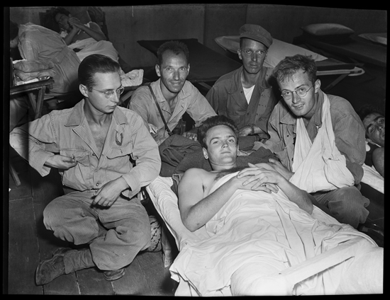 """""""Morton Wounded with Photo Team,"""" circa March 1945"""