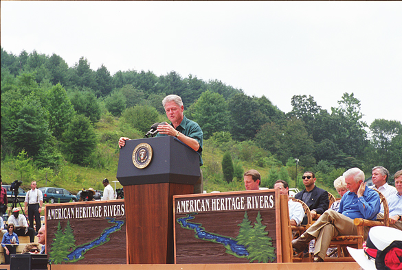 President Bill Clinton speaking at event celebrating the designation of the New River as an American Heritage River, Ashe County, N. C., Juy 30, 1998.