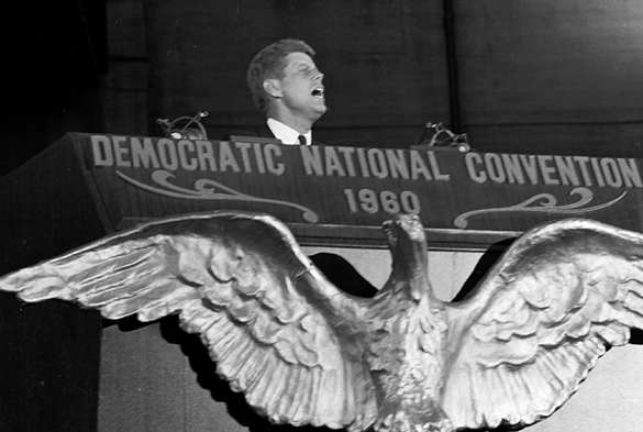 Presidential candidate John F. Kennedy accepting presidential nomination at the 1960 Democratic National Convention.