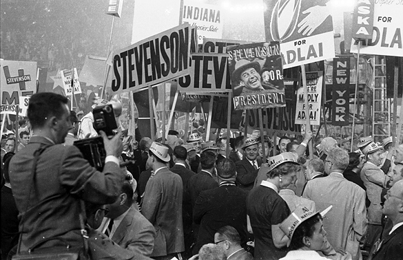 Adlai Stevenson supporters in crowd at the 1956 Democratic National Convention held at the International Amphitheatre in Chicago, Ill.
