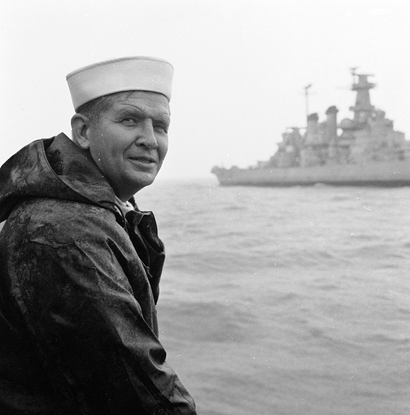 North Carolina Governor Terry Sanford and the USS North Carolina, 1961.