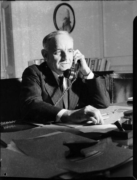 Frank Porter Graham on telephone to Washington