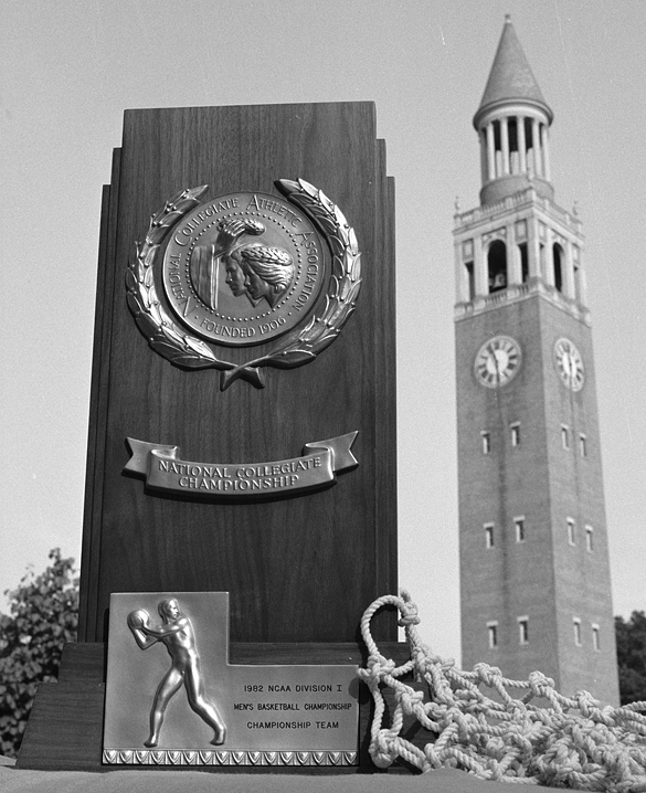 1982 NCAA trophy and the UNC Morehead-Patterson Bell Tower