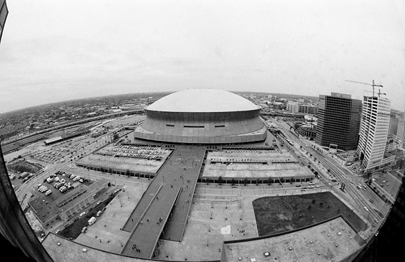 Wide-angle shot of the Louisiana Superdome, New Orleans, March 1982