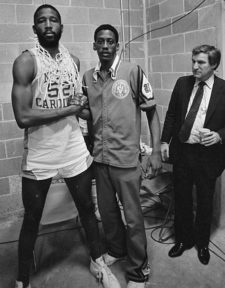 "James Worthy and Eric ""Sleepy"" Floyd after the 1982 NCAA Championship game."