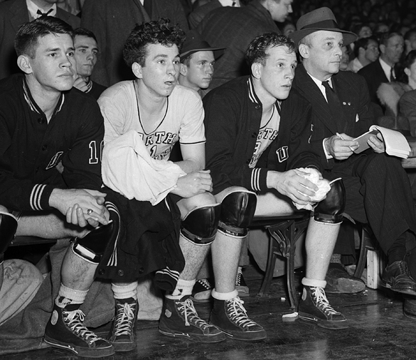 UNC bench during 1942 Southern Conference Tournament game against Wake Forest College
