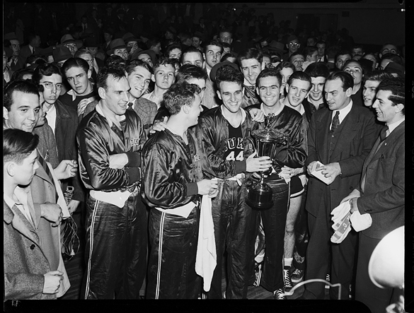 Duke basketball team after winning the 1942 Southern Conference Tournament.