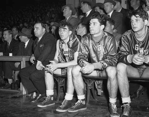 George Washington University players and coach during 1942 Southern Conference Tournament