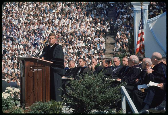 John F. Kennedy at UNC speaking in Kenan Stadium on University Day, October 12, 1961