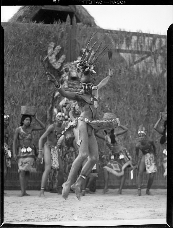 """Performer in Native American dress dancing in """"The Lost Colony."""""""